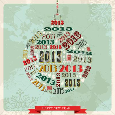 Stock Illustration of vintage happy new year 2013 bauble