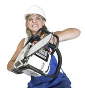 Aggressive weird chain saw girl Stock Photos