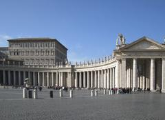 colonnades at saint peters square - stock photo