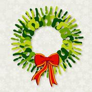diversity green hands christmas wreath. - stock illustration