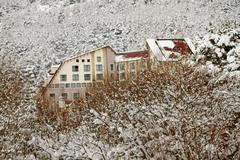 View of a chalet motel near the lake of abant Stock Photos