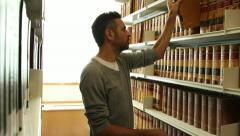 Leather bound library books Stock Footage