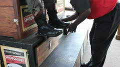 Old Fashioned Shoe Shine   (HD) Stock Footage