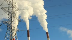 Thermal power plant, the smoke from the chimney. Generation, energy Stock Footage