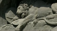 Lion of Lucerne telephoto shot Stock Footage