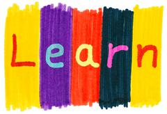 Learn, written with colorful felt tip marker ink pens. Stock Photos