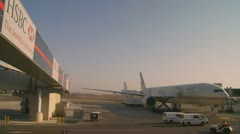 Abu Dhabi airport on a busy day Stock Footage
