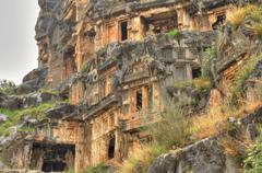 Lycian Rock Tomb, HDR photography - stock photo