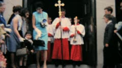 Catholic School Grads Leave Church-1964 Vintage 8mm film - stock footage