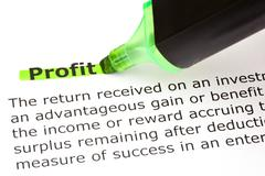 Profit highlighted in green Stock Photos