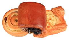 Stock Photo of three small loaf of bread on white background