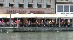 Restaurants along water in Lucerne Stock Footage