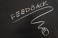 Feedback word and mouse symbol Stock Photos