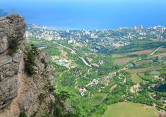 view of yalta city from slope of aj-petri mount (ukraine) - stock photo