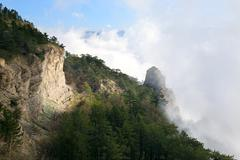cloudy mountain landscape - stock photo