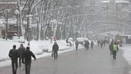 Stock Video Footage of The people crowd in the city street, winter