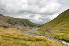 Cwmystwyth hills in ceredigion wales and ruins of the old lead mine. Stock Photos