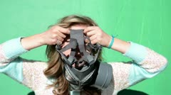 Nuclear war. girl dress gas masks. green screen Stock Footage