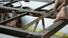 Measurement of metal parts - stock footage
