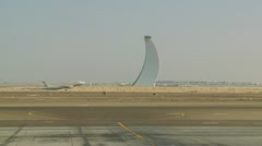 Plane takes off at Abu Dhabi airport Stock Footage