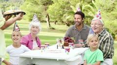Family celebrating a birthday Stock Footage