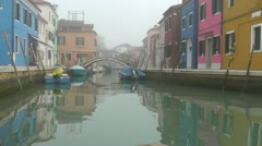 Goast town Burano in the mist Stock Footage