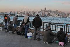 Fishing in Istanbul Stock Photos