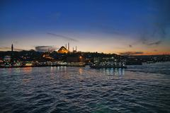 Sunset in Istanbul - stock photo
