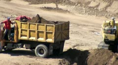 Dump Trucks, Construction, Waste Materials Stock Footage