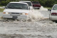 Flooded street Stock Photos