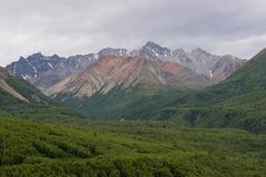 alaskan mountain range chugach mountains north america - stock photo