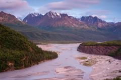 Alaskan mountain river alaska north america Stock Photos