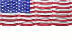 USA mock croc Flag curtain up. Alpha is included. Rewind to drop - stock footage