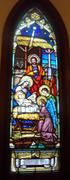 Red Church Stained Glass - stock photo