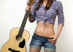 torso of a female country western singer - stock photo
