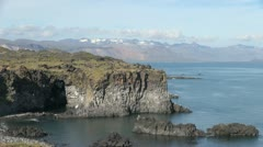 Iceland sea cliffs Snaefellsnes Peninsula Stock Footage