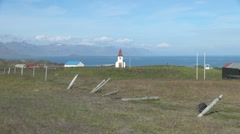Iceland church at Hellnar zoom in 2 Stock Footage