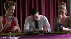Stock Video Footage of People betting and playing poker