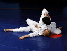 Judo fighting competition Stock Photos