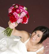Boquet and bride Stock Photos