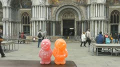 Jelly Baby Tourist in St Marco Stock Footage