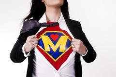 Super mom torso shows hero superhero center Stock Photos