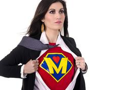 Super mom character model undresses to fight crime Stock Photos