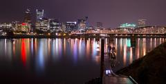 Stock Photo of hawthorne bridge and portland oregon united states