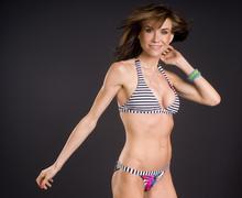 bikini dancer female enjoys movement - stock photo