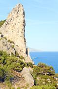 fanciful rocks on coastline - stock photo
