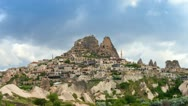Timelapse view of Uchisar Castle cave houses. Cappadocia, Turkey. Stock Footage