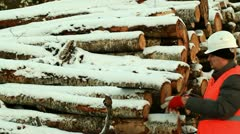 Forester at the log pile Stock Footage