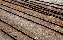 British railway tracks close up. Stock Photos