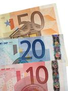 Fifty twenty and ten euro notes close up. Stock Photos